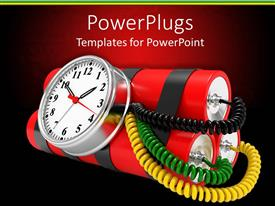 PowerPlugs: PowerPoint template with bomb with three dynamites and timer clock with yellow, green and black wires attached, on a red and black background