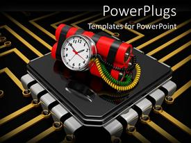 PowerPlugs: PowerPoint template with bomb with timer on computer chip