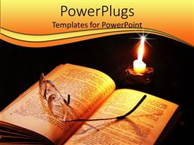 PowerPlugs: PowerPoint template with a book along with glasses and a burning candle