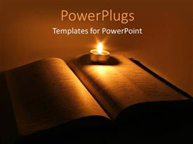 PowerPlugs: PowerPoint template with a book with a candle and its light in the background