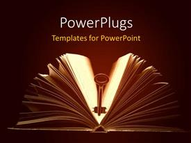 PowerPoint template displaying a book and a key in the middle of it with brownish background