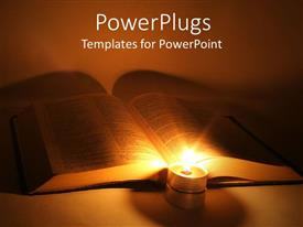 PowerPlugs: PowerPoint template with book lit up by candle reading white background
