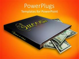 PowerPlugs: PowerPoint template with a book with a number of dollar notes