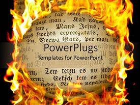 PowerPoint template displaying book page with calligraphy surrounded by flames
