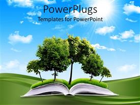 PowerPlugs: PowerPoint template with a book is placed on the ground and trees are going in it