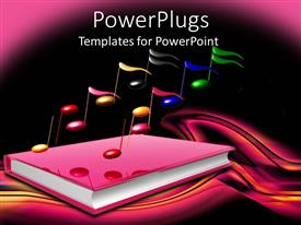 PowerPlugs: PowerPoint template with a book related to music with dark background
