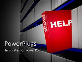 PowerPlugs: PowerPoint template with the book with the solutions in the rack