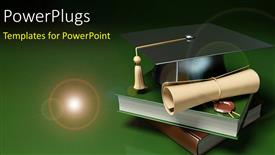PowerPlugs: PowerPoint template with books, graduation degree and graduation hat over green background