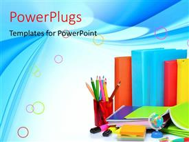 PowerPlugs: PowerPoint template with learning depiction with colorful books and learning materials on blue background