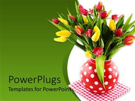 PowerPlugs: PowerPoint template with a boque of tulips with greenish background