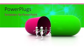 PowerPoint template displaying depiction of 3D men running out of large green and purple capsule