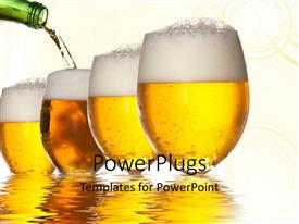 PowerPlugs: PowerPoint template with bottle pouring beer into glasses on reflective water