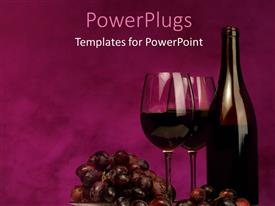 PowerPoint template displaying a bottle of wine and glasses with purple bckground
