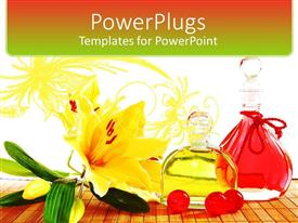 PowerPlugs: PowerPoint template with bottles of perfume massage oil with vanilla flower and cherries