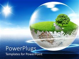 PowerPlugs: PowerPoint template with bottom half of antique globe with tree and grass under clear dome