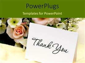 PowerPlugs: PowerPoint template with bouquet of flowers with a thank you card