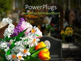PowerPoint template displaying bouquet of multicolor Flowers with cemetery