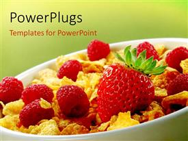 PowerPoint template displaying a bowl of cereal and a lot of strawberries with greenish background