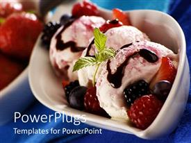 PowerPoint template displaying bowl with three ice cream balls with chocolate syrup and fresh fruits
