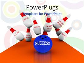PowerPlugs: PowerPoint template with a bowling ball hitting some bowling pins with a text that spells out the word 'success '