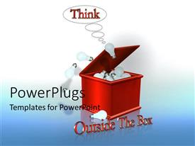 PowerPlugs: PowerPoint template with a box full of ideas with bluish background