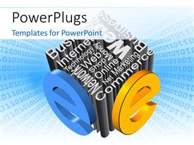 PowerPlugs: PowerPoint template with a box made up of various words and binary numbers in background