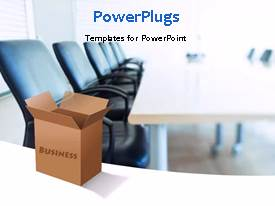 PowerPlugs: PowerPoint template with a box with a text that spell out the word 'Business'