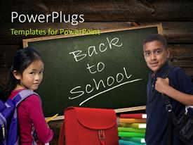 PowerPlugs: PowerPoint template with boy and girl dressed for school with book pile and chalkboard