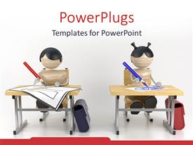 PowerPlugs: PowerPoint template with boy and a girl studying in classroom drawing education