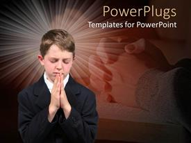 PowerPlugs: PowerPoint template with boy put palms together praying with closed eyes with clasped hand behind