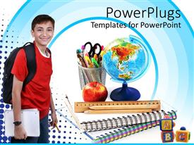 PowerPoint template displaying a boy with a school bag with an apple in the background