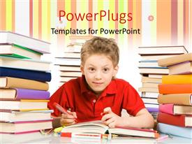 PowerPlugs: PowerPoint template with a boy studying with a lot of books in the background