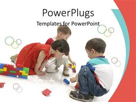 PowerPoint template displaying boys and girl building with blocks, children, kids, play, child care