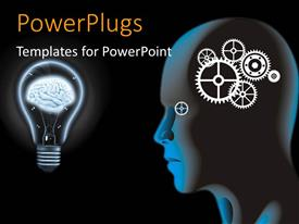 PowerPlugs: PowerPoint template with a person with gears instead of mind with brain in background