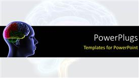 PowerPoint template displaying scan of the human head showing human brain