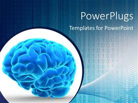 PowerPlugs: PowerPoint template with a brain in bluish color with binary numbers in the background