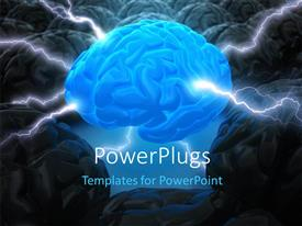 PowerPoint template displaying the brain in the center has the power to lead depicting the leadership concept with brains