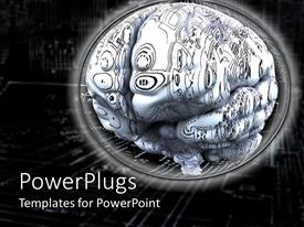 PowerPlugs: PowerPoint template with brain with circuits, artificial intelligence, black background