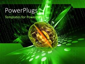 PowerPlugs: PowerPoint template with depiction of human brain with binary numbers in background