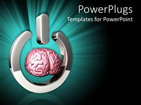 PowerPoint template displaying a brain in the form of a switch on button