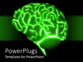 PowerPoint template displaying a brain with greenish background and a number of bullet points