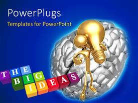 PowerPlugs: PowerPoint template with a brain with an idea and a number of boxes