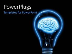 PowerPlugs: PowerPoint template with brain inside a light bulb made in 3D over a black background