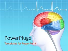 PowerPlugs: PowerPoint template with brain lobes in head silhouette with ECG wave in the background