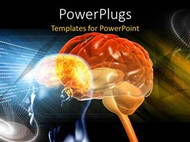 PowerPlugs: PowerPoint template with a brain with a number of colors in the background