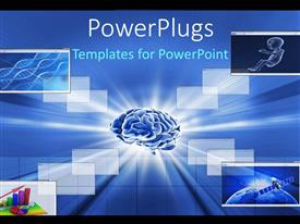 PowerPlugs: PowerPoint template with human brain with collage of DNA strands and business charts