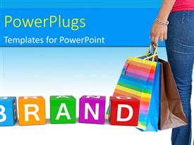 PowerPlugs: PowerPoint template with woman with shopping bags and colorful brand cubes