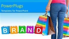 PowerPoint template displaying woman with shopping bags and colorful brand cubes