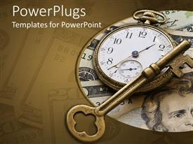 PowerPlugs: PowerPoint template with brass skeleton key laying across antique pocket watch on money background