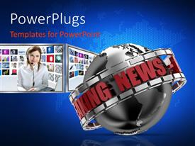 PowerPlugs: PowerPoint template with breaking News Globe in 3D with New Presenter in background